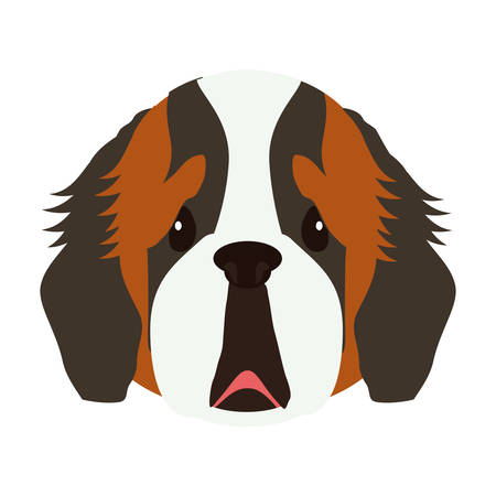 cute dog face icon over white background. colorful design. vector illustration Illustration