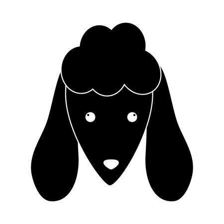 trusting: dog face icon over white background. black and white design. vector illustration