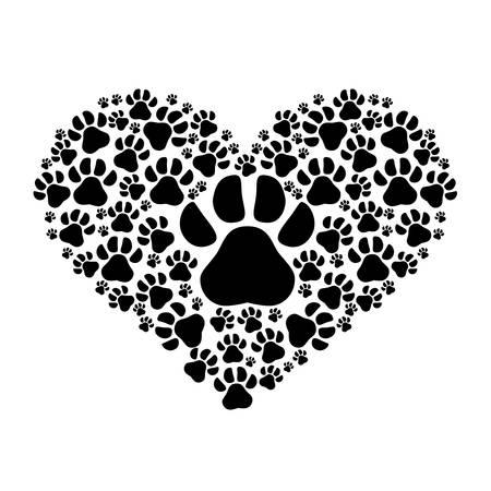 huellas de perro: huellas de perro en forma de corazón sobre fondo blanco. diseño del amor de mascotas y animales. ilustración vectorial