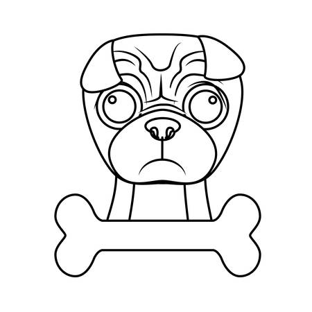 pug dog: pug dog breed emblem  icon image vector illustration design