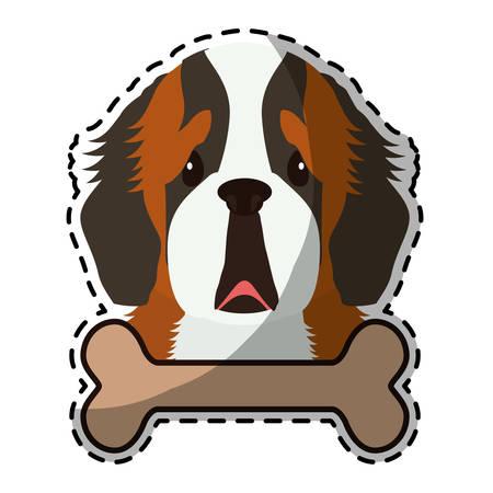 bernard: st bernard dog breed emblem icon image sticker vector illustration design Illustration