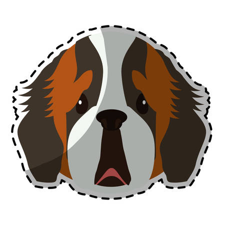 st bernard: st bernard dog breed icon image sticker vector illustration design