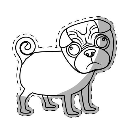 pug dog breed icon image sticker vector illustration design