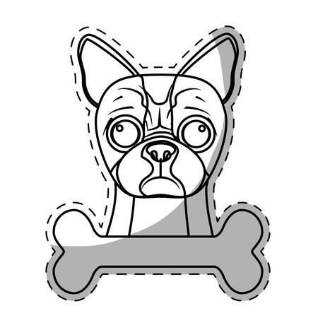 boston terrier dog breed emblem icon image sticker vector illustration design Illustration
