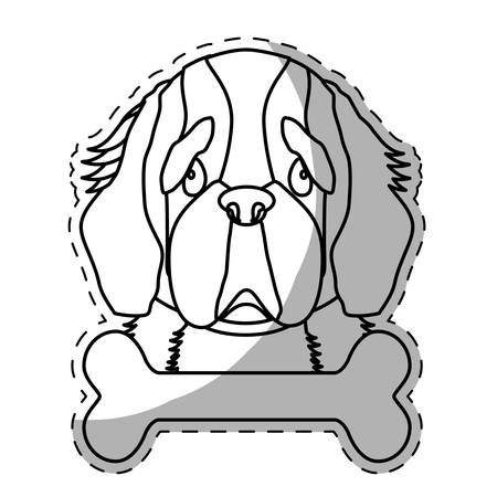 st bernard: st bernard dog breed emblem icon image sticker vector illustration design Illustration