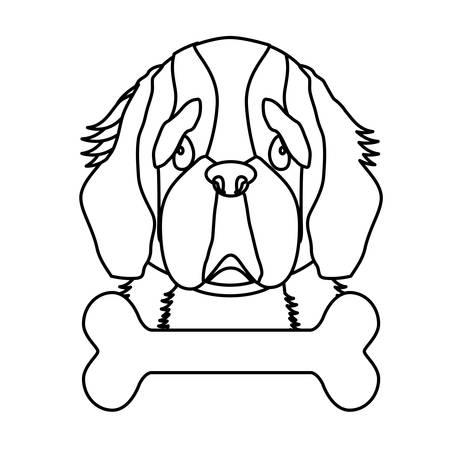 st bernard dog breed emblem  icon image vector illustration design