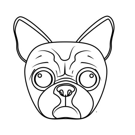 pug dog: pug dog face icon over white background. vector illustration Illustration