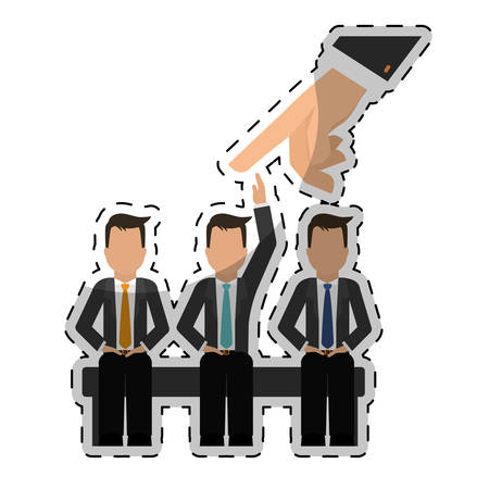 hand and businesspeople over white background. human resources design. vector illustration