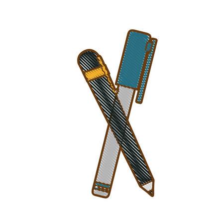 pluma e icono de marcador sobre fondo blanco. ilustración vectorial