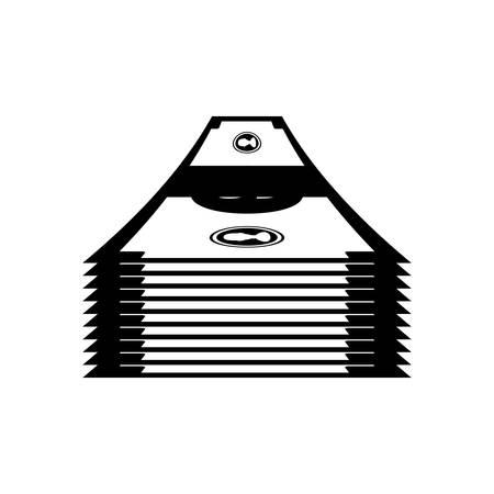 money bills or wad of cash over white background. vector illustration