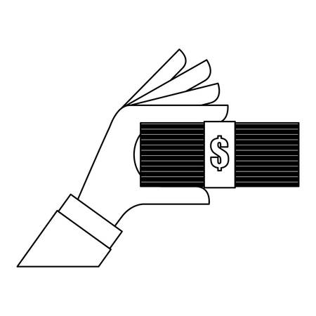 money bills or wad of cash over white background. vector illustration Stock Vector - 69488707