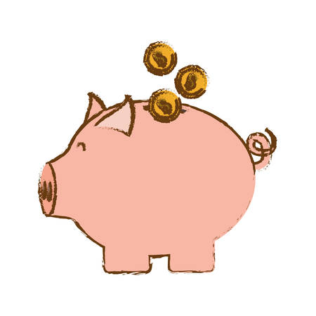 piggy bank with coins over white background. colorful design. vector illustration Illustration