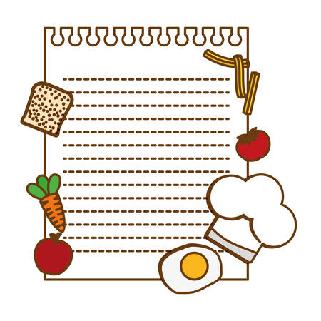 note page with food around over white background. vector illustration Illustration