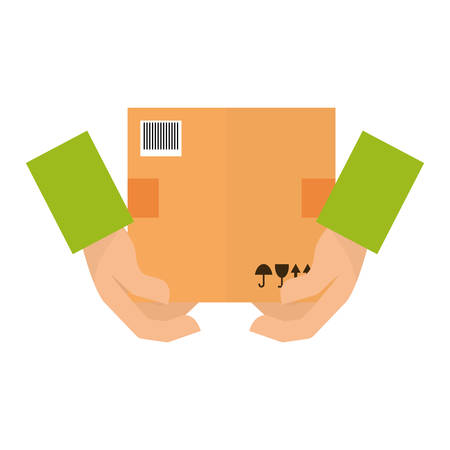 hands with carton box over white background. colorful design. vector illustration
