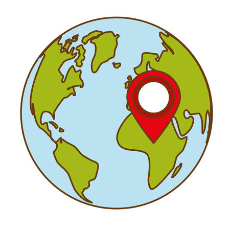 planet earth with gps pin  icon image vector illustration design Illustration