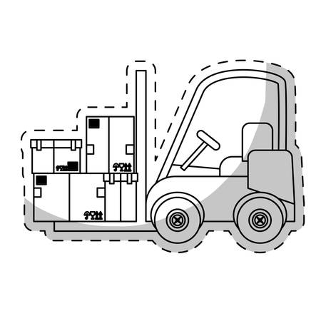 machine operator: forklift truck with carton boxes over white background. vector illustration