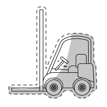 storage facility: forklift truck vehicle over white background. vector illustration