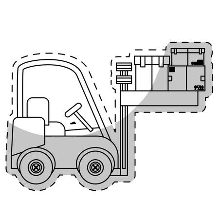 storage facility: forklift truck with carton boxes over white background. vector illustration