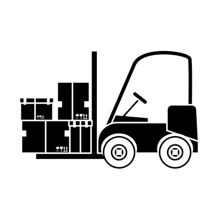 transportation facilities: forklift truck with carton boxes over white background. vector illustration
