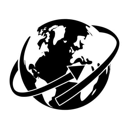 earth planet with arrow over white background. vector illustration Stock Photo