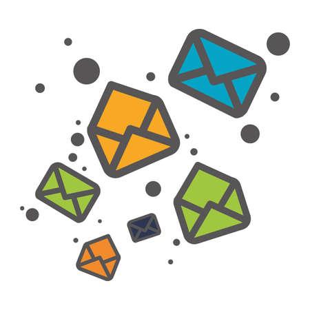 poststempel: Nachrichtenumschlag Mail verbundene Symbole Bild Vektor-Illustration Design