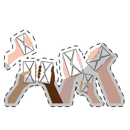 hand and envelopes over white background. colorful design. vector illustration