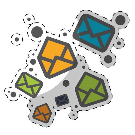 colorful envelopes over white background. vector illustration Illustration
