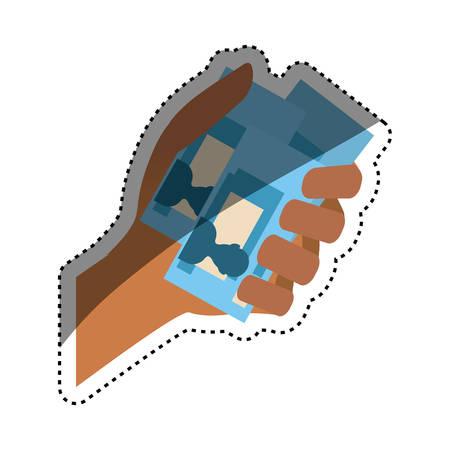 Billets in hand icon vector illustration graphic design