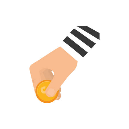 Hand with coin icon vector illustration graphic design Illustration
