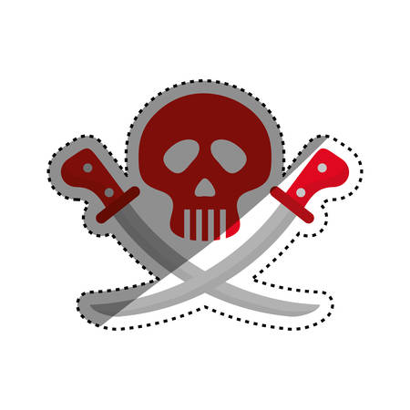 skull with swords icon vector illustration graphic design