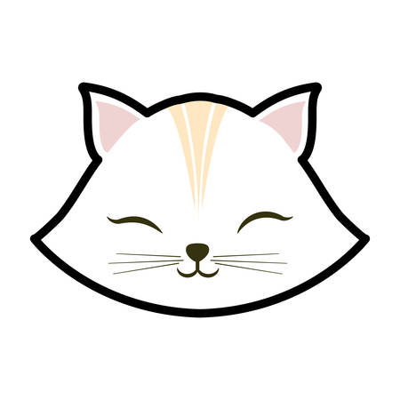 white cat kitty closed eyes animal cute vector illustration