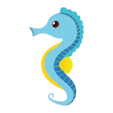 blue sea horse pet aquarium vector illustration