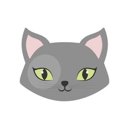 gray cat green eyes pet animal vector illustration