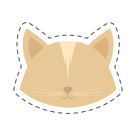 face cat female head line dotted vector illustration