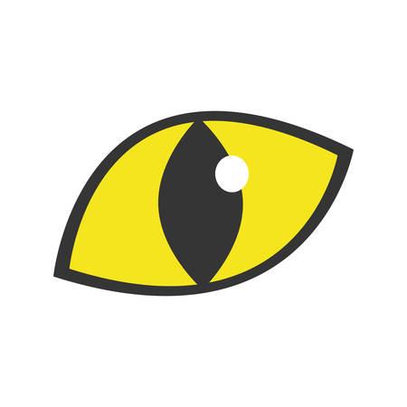 yellow eye cat staring icon vector illustration