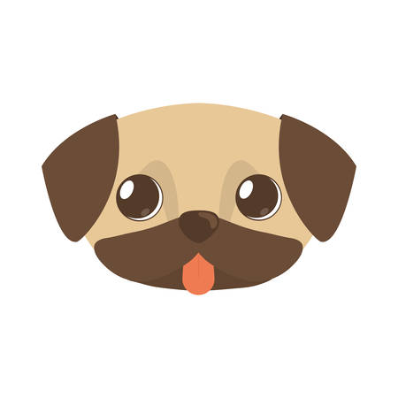 cute doggy brown tongue out vector illustration Illustration