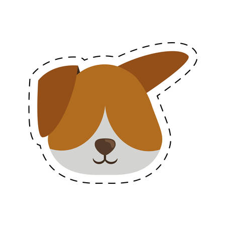 polkadot: face doggy pet with line dotted vector illustration