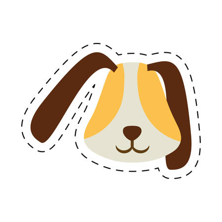 puppy face ear long brown pet line dotted vector illustration Illustration