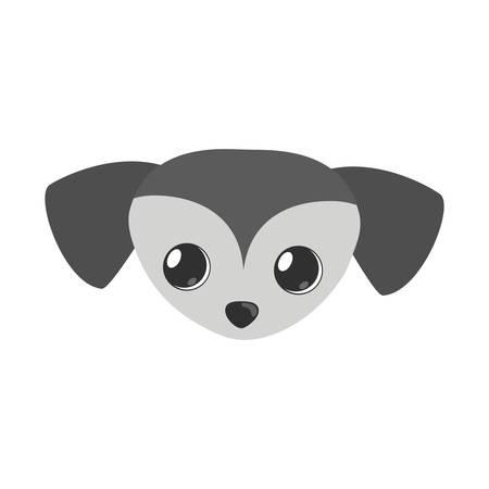 small dog face gray pet icon vector illustration Illustration