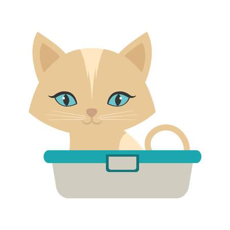 small kitten sitting blue eyes bathtub vector illustration eps 10