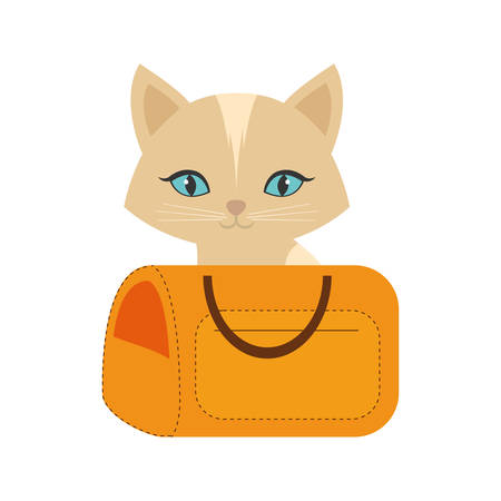 kitten blue eyes yellow pet carrier traveling vector illustration eps 10 Illustration