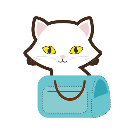 small cat yellow eyes blue pet carrier bag travel vector illustration eps 10