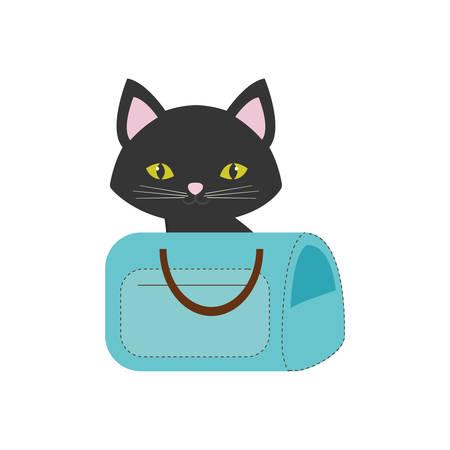 cat pink ears green eyes blue pet carrier bag travel vector illustration eps 10