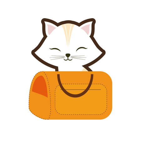 white cat stripes closed eyes yellow pet carrier traveling vector illustration eps 10