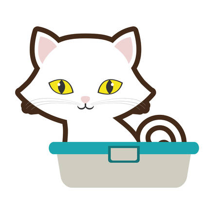 small cat sitting yellow eyes bathtub vector illustration eps 10 Illustration