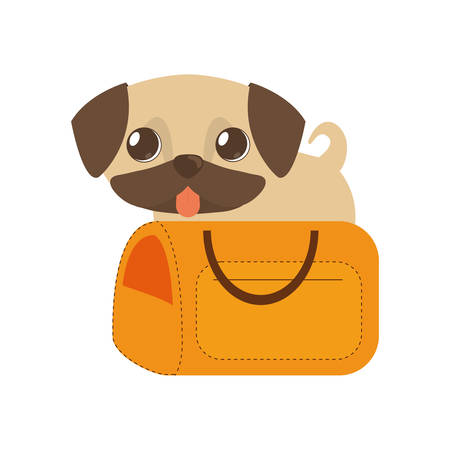 puppy little tongue out yellow pet carrier traveling vector illustration eps 10