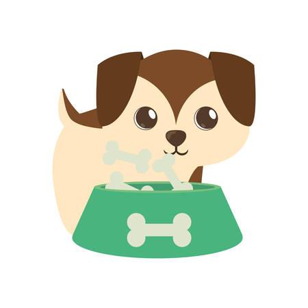 少し茶色の犬のボウル食品 b 印刷ベクトル イラスト eps 10
