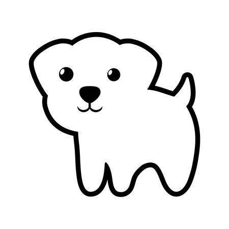 breeds: dog canine young standing outline vector illustration eps 10