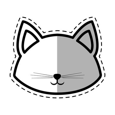 pussy hair: face cat pedigree feline adorable dot line shadow vector illustration eps 10