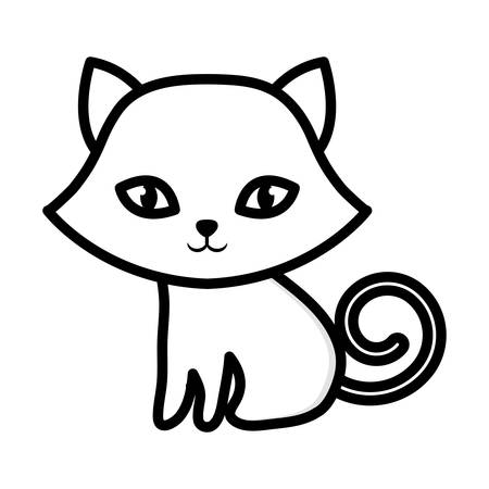 kitten sitting adorable outline vector illustration eps 10